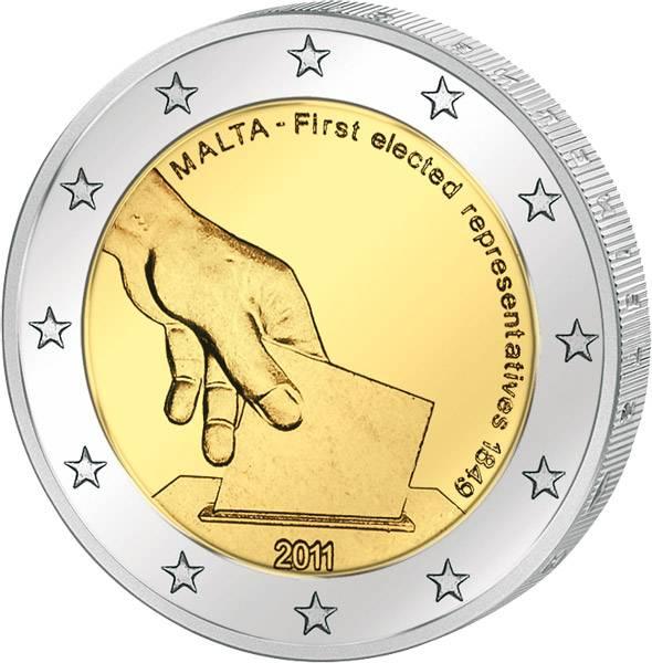 2 Euro Malta Verfassungsgeschichte 2011 prägefrisch