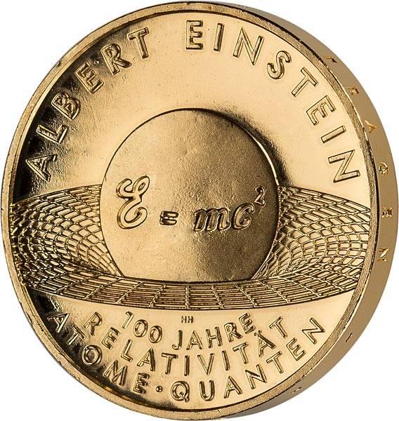 10 Euro BRD Albert Einstein 2005 vollvergoldet