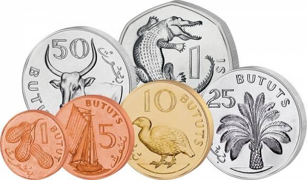 1 Bututs - 1 Dalasi Kursmünzen Gambia 1998 - 2014