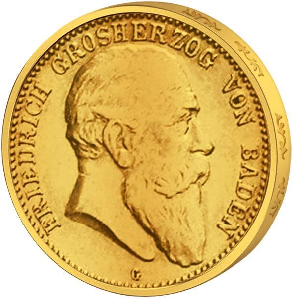10 Mark Baden Friedrich I. Gold 1902-1907 Sehr schön