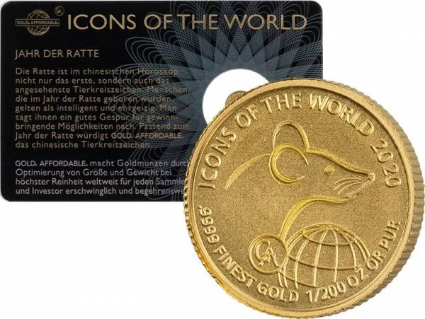 1/200 Unze Gold  Ruanda Ratte 2020