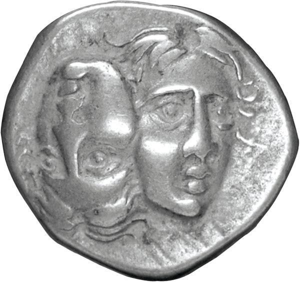 Drachme Thrakien Zwei Jünglingsgesichter um 350 v.Chr. ss-vz