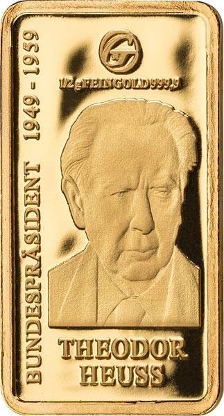 0,5 Gramm Goldbarren Theodor Heuss