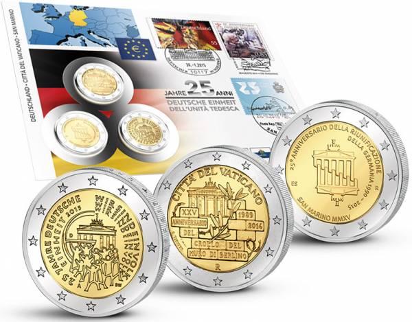 3 x 2 Euro Numisbrief BRD Vatikan San Marino 25 Jahre Deutsche Einheit 2015  prägefrisch
