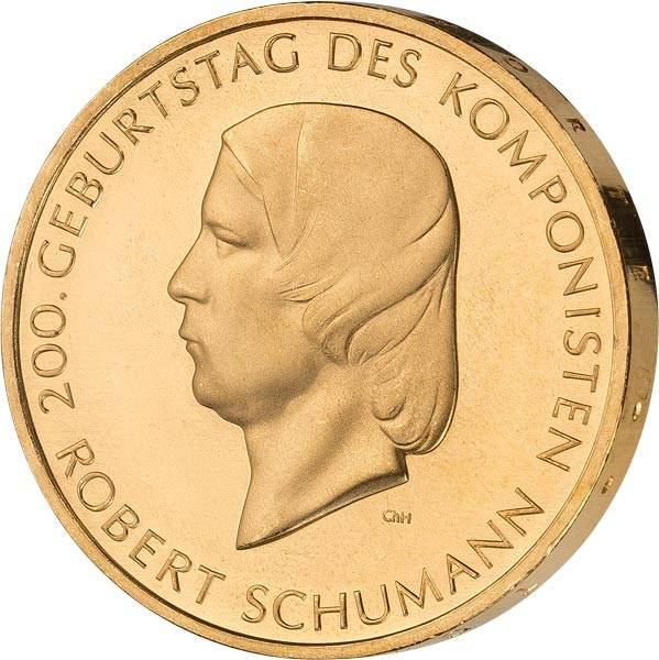 10 Euro BRD Robert Schumann 2010 vollvergoldet