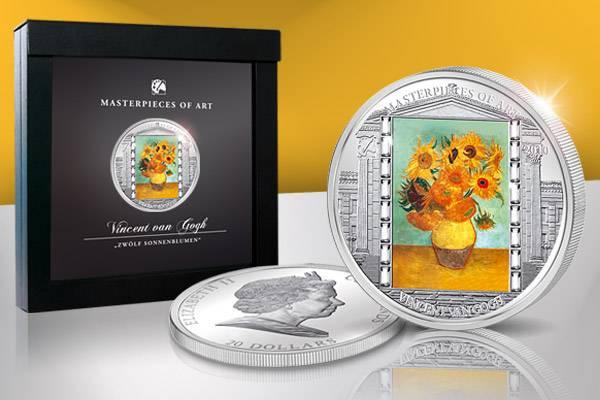 20 Dollars Cook-Inseln Vincent van Gogh Sonnenblumen 2010   Polierte Platte