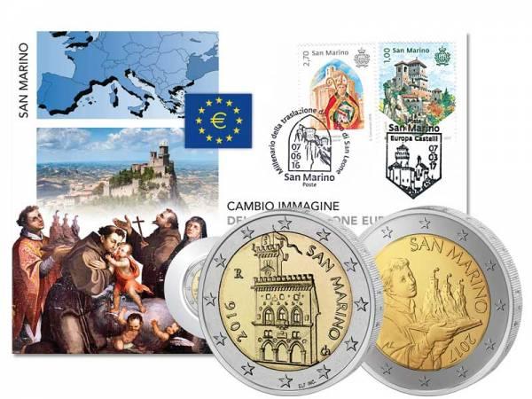 Doppel-Numisbrief San Marino Regierungspalast 2016 und Heiliger Marinus 2017