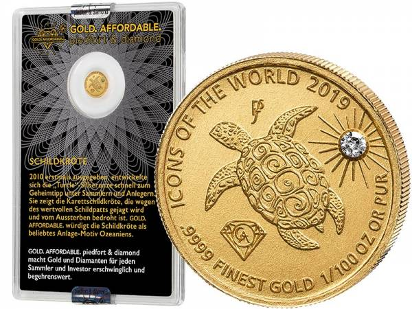 10 Francs Ruanda Gold Affordable Diamond Edition Schildkröte 2019