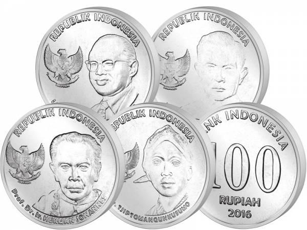 100-1.000 Rupiah Kursmünzensatz Indonesien 2016