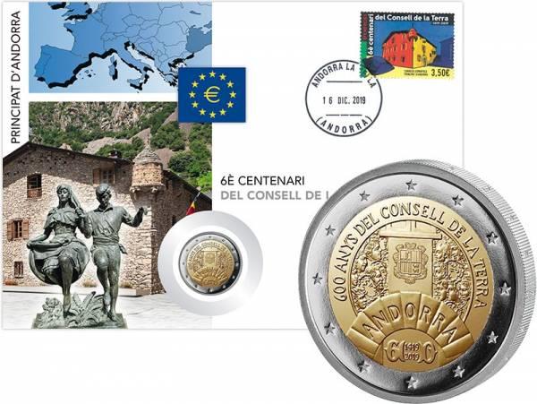2 Euro Numisbrief Andorra 600 Jahre Consell de la Terra 2019