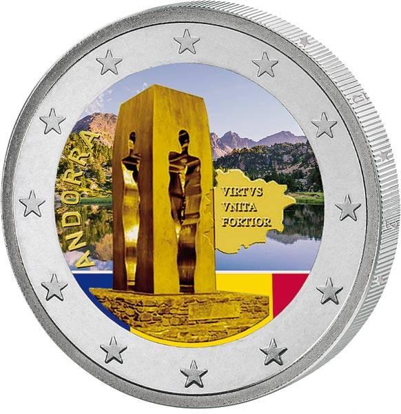 2 Euro Andorra 25-jähriges Jubiläum der Verfassung von Andorra 2020 mit Farb-Applikation