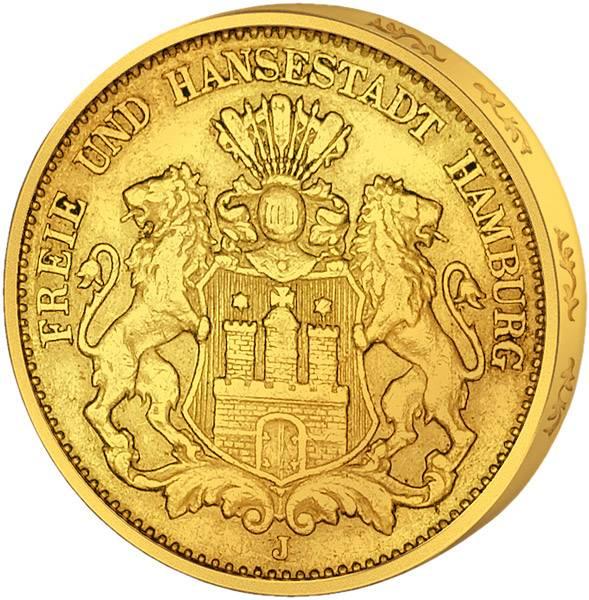 10 Mark Hamburg Wappen kleiner Adler 1875-1888 Sehr schön