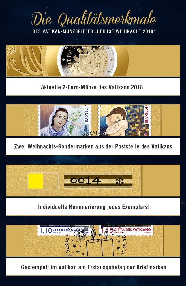 Die Qualitätsmerkmale – Des Vatikan-Münzbriefes Heilige Weihnacht 2018 </div> </div> </div> <div class=