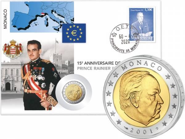 2 Euro Numisbrief Monaco 15. Todestag von Fürst Reiner III. 2020