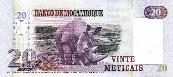 20 Meticais Banknote MosambikNashorn 2016