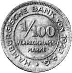 1/100 Verrechnungsmark Hansestadt Hamburg Löwenwappen o.J. Sehr schön