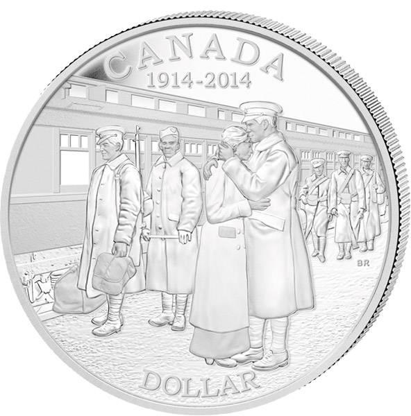 1 Dollar Kanada 100 Jahre Beginn des 1. Weltkriegs 2014 Polierte Platte (PP)