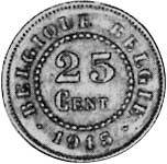 25 Centimes Belgien Wappenlöwe 1915-1918 Sehr schön