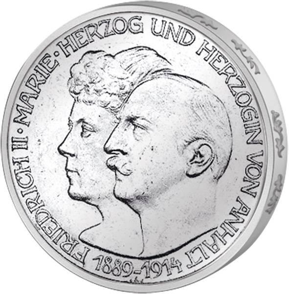3 Mark Anhalt Silberhochzeit Friedrich II. mit Marie 1914 vorzüglich