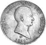 Kronentaler Silber Ludwig von Baden 1819 Sehr schön
