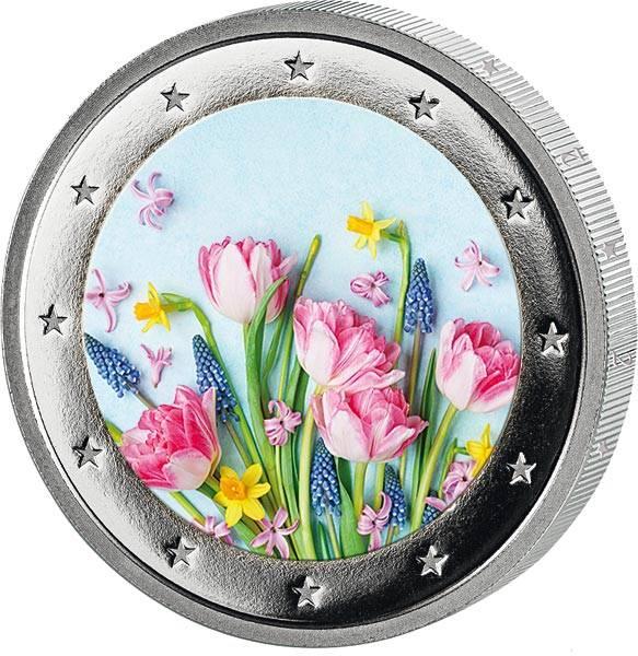 2 Euro BRD mit Farb-Applikation Frühlingsblumen 2020