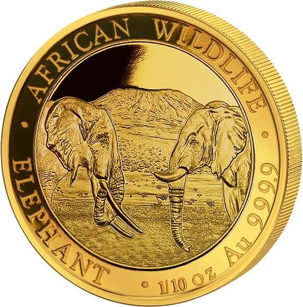 1/10 Unze Gold Somalia Elefant 2020