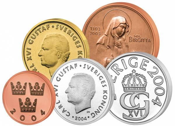 50 Öre - 10 Kronen Kursmünzensatz Schweden 2004