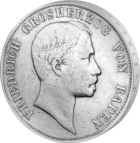 Vereinstaler Friedrich I. Großherzog von Baden 1857-65 Silber Sehr schön