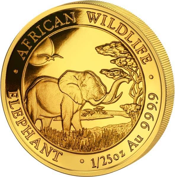 1/25 Unze Gold Somalia Elefant 2019