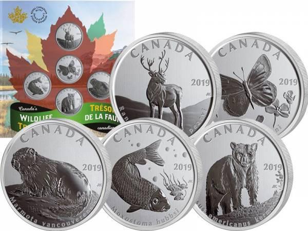 5 x 50 Cent Kanada Wildlife-Set 2019