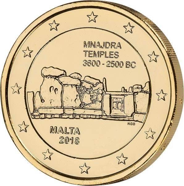 2 Euro Malta Mnajdra 2018 vollvergoldet