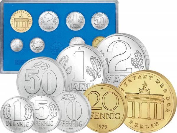 1 Pfennig - 5 Mark DDR Kursmünzensatz 1979