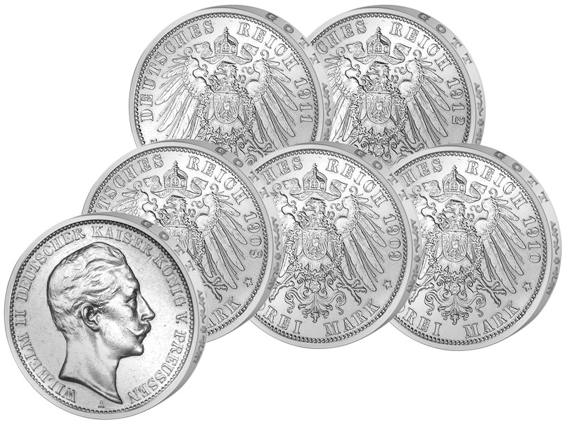 3 Reichsmark Silbermünzen Deutsches Kaiserreich Reichsmünzen