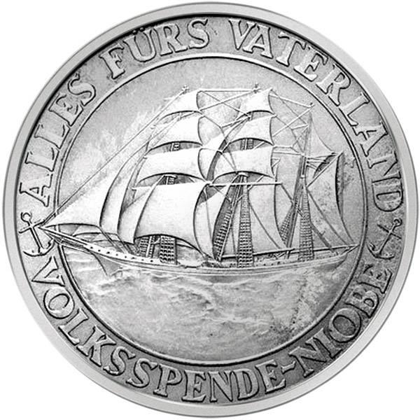 Silbermedaille Weimarer Republik Untergang der Noibe 1932  vz-st