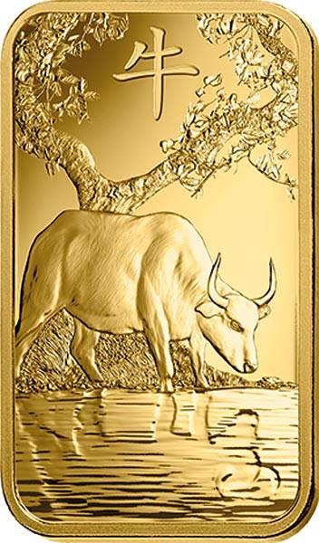 5 Gramm Goldbarren Jahr des Ochsen