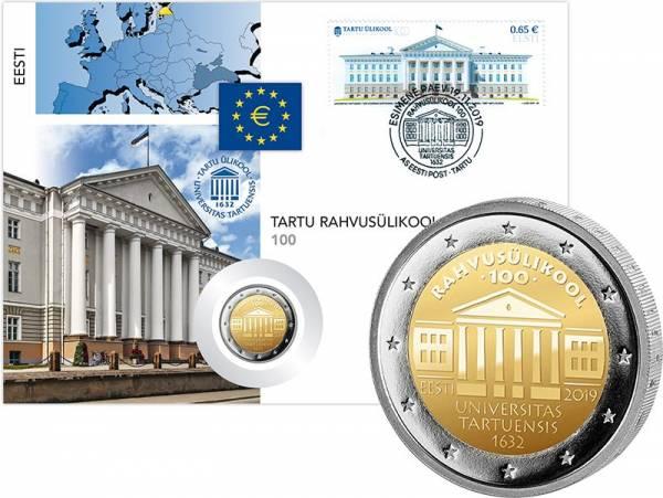 2 Euro Numisbrief Estland 100. Jahre Nationaluniversität Tartu 2019