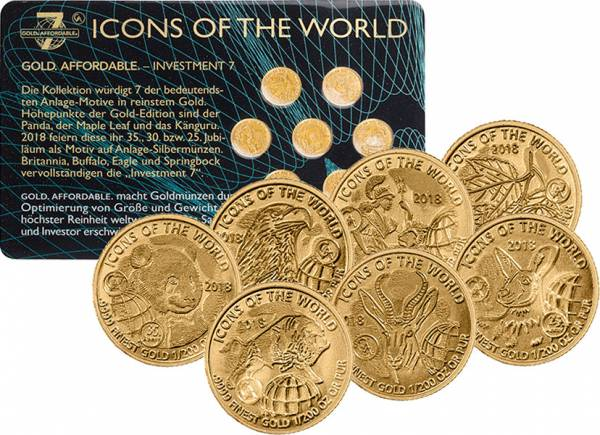 7 x 10 Francs Gold Ruanda Icons of the World 2018