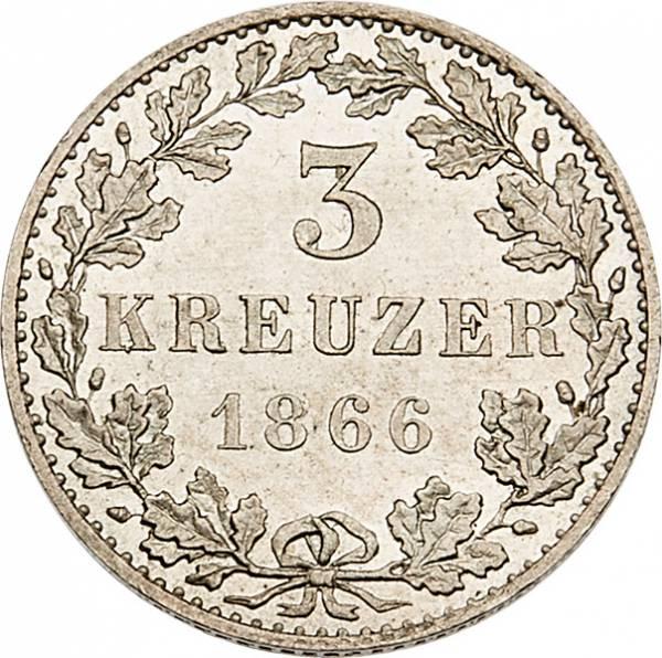 3 Kreuzer Freie Reichsstadt Frankfurt 1866
