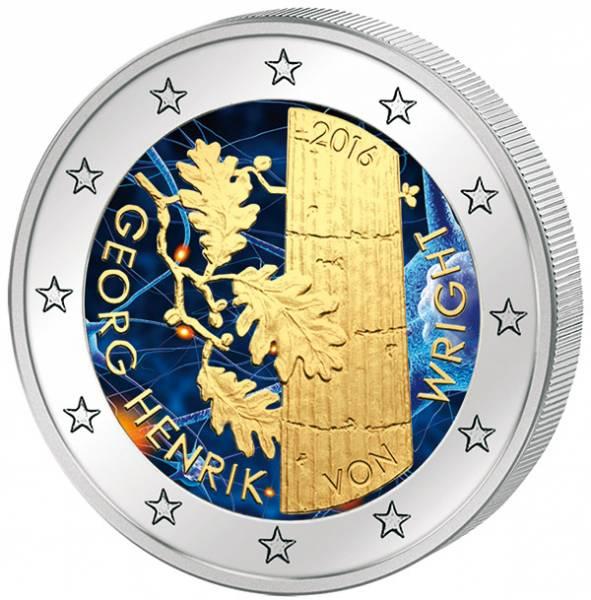 2 Euro Finnland 100. Geburtstag Georg Henrik von Wright mit Farb-Applikation 2016