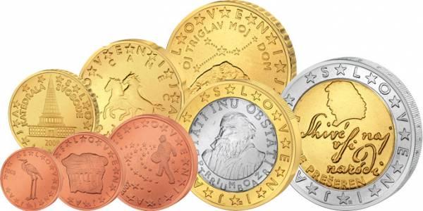 1 Cent-2 Euro (8 Werte) Kursmünzensatz Slowenien J.u.W. prägefrisch