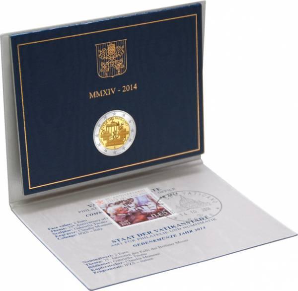 2 Euro Vatikan 25 Jahre Mauerfall als Ersttags-Edition 2014 Stempelglanz