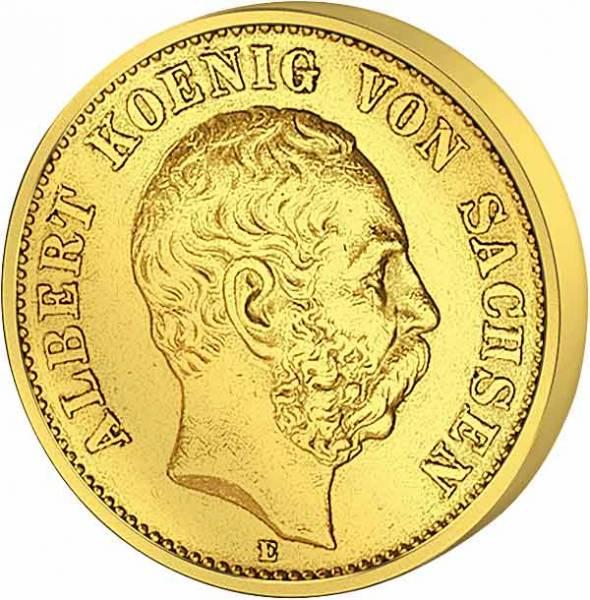 5 Mark Sachsen König Albert 1877 Sehr schön