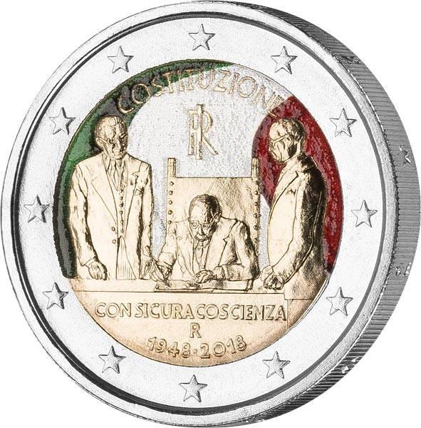 2 Euro Italien 70 Jahre Verfassung 2018 mit Farb-Applikation