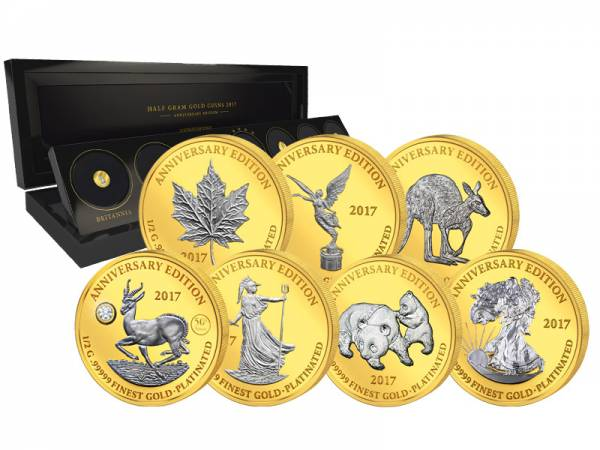 7 x 1.000 Francs Gabun Gold Platinum Edition 2017