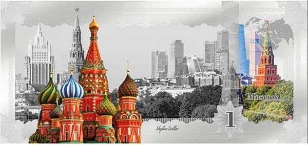 1 Dollar Cook-Inseln Skyline-Dollar Moskau 2019