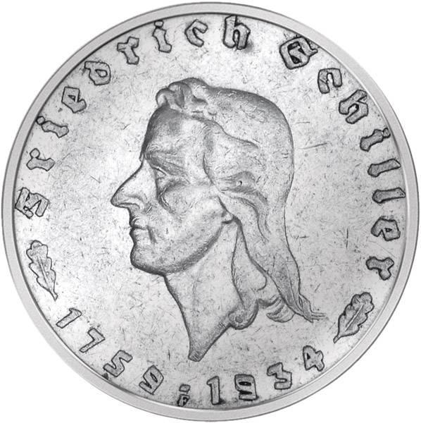 2 Reichsmark Friedrich Schiller 1934 vorzüglich