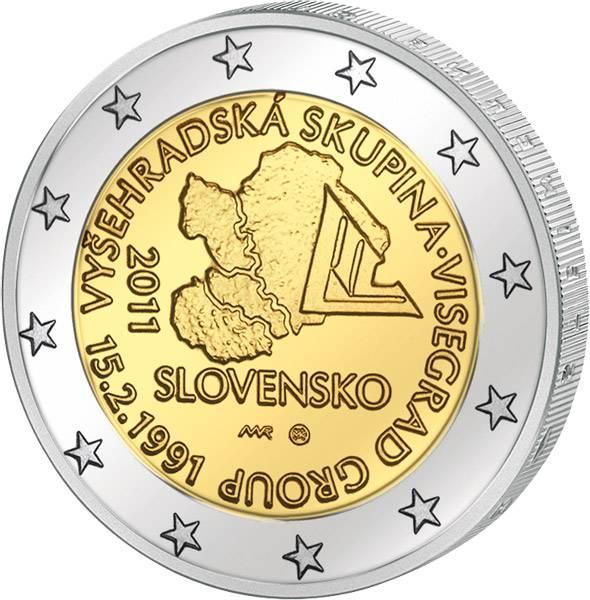 2 Euro Slowakei 20 Jahre Visegrad Gruppe 2011 prägefrisch