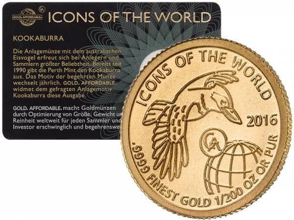 1/200 Unze Gold Ruanda Kookaburra 2016
