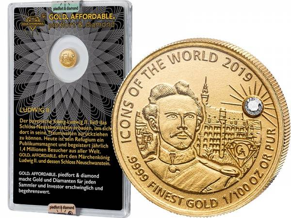 10 Francs Ruanda Gold Affordable Diamond Edition Ludwig II. und Schloss Neuschwanstein 2019