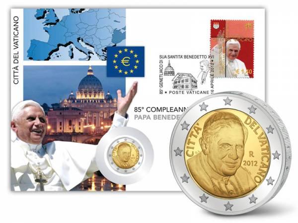 2 Euro Numisbrief Vatikan-85. Geburtstag Papst Benedikt XVI. 2012 prägefrisch